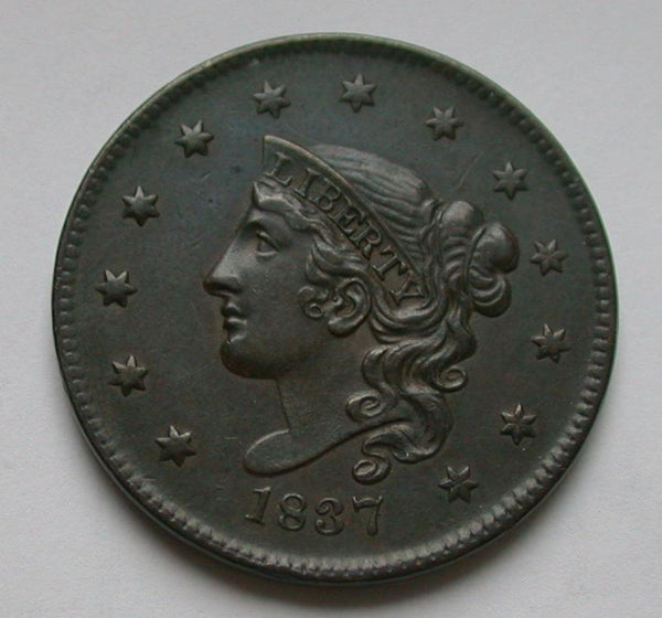 1837 Large Cent AU-50 - Of Coins & Crystals