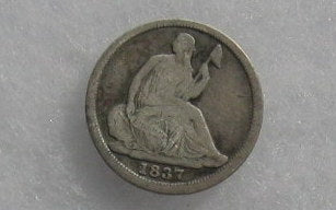 1837 Seated Liberty Half Dime F-12 - Of Coins & Crystals