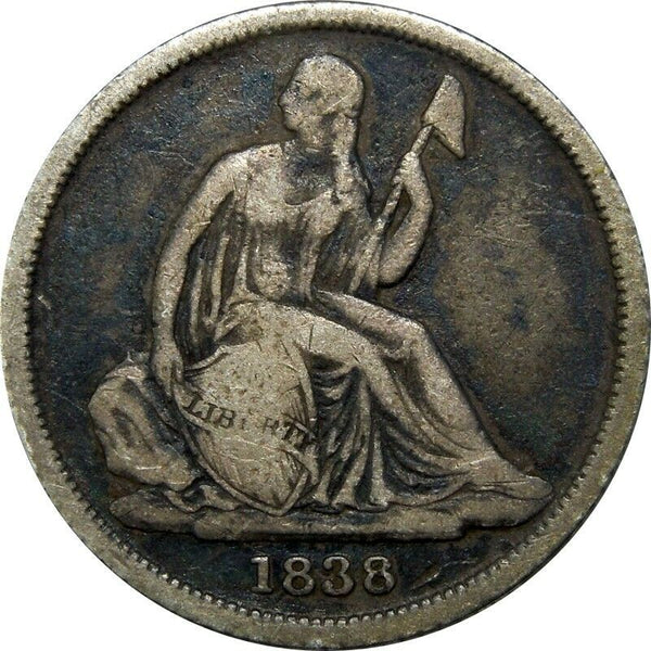 1838 O No Stars Seated Liberty Dime F-12 - Of Coins & Crystals