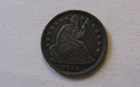 1838 Seated Liberty Half Dime, Large Stars.  AU-50 - Of Coins & Crystals