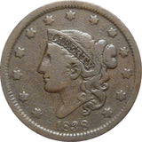 1838 Large Cent F-12 - Of Coins & Crystals