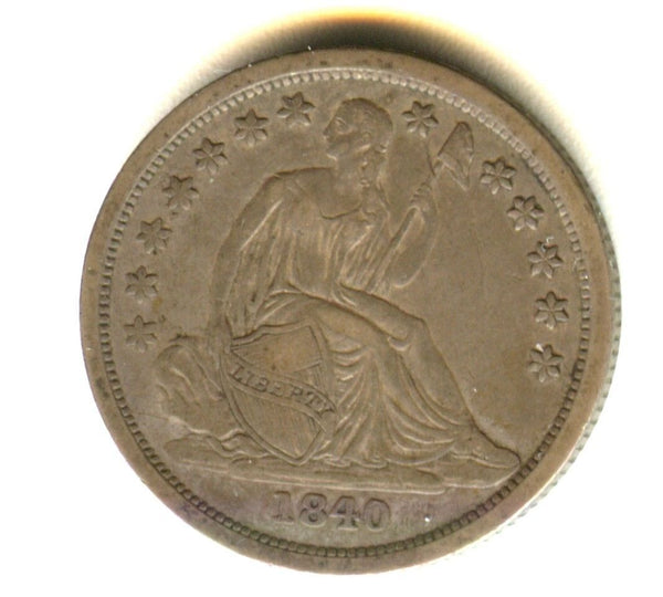 1840 Seated Liberty Dime XF40 - Of Coins & Crystals