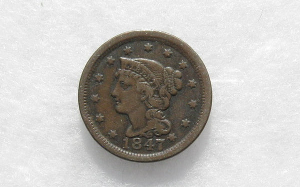 1847 Large Cent VF-30 - Of Coins & Crystals