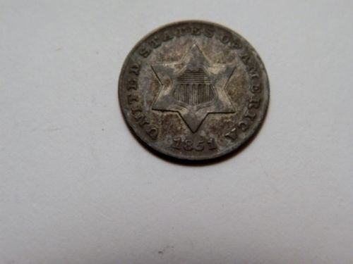 1851 Silver Three Cents XF45 - Of Coins & Crystals