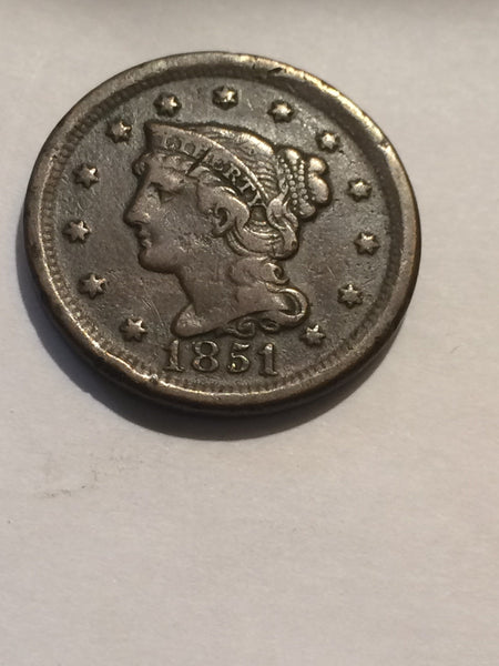 1851 Large Cent VF-20 - Of Coins & Crystals
