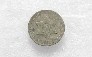 1852 Silver Three Cents VG10 - Of Coins & Crystals