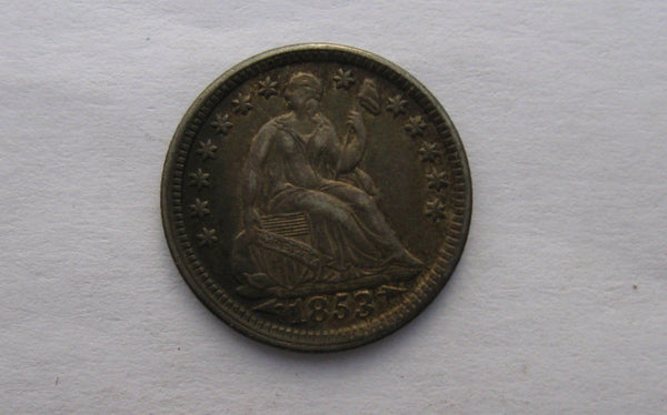 1853 Seated Liberty Half Dime, arrows at date. XF-45 - Of Coins & Crystals