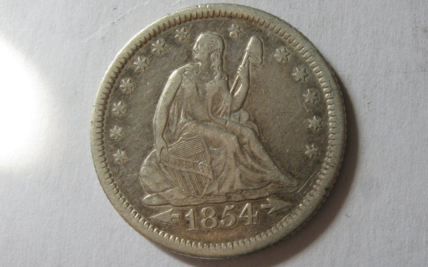1854-O Seated Liberty Quarter.  Arrows at date.  XF-40 - Of Coins & Crystals