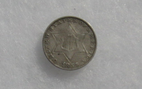 1854 Three Cent Silver XF-40 - Of Coins & Crystals