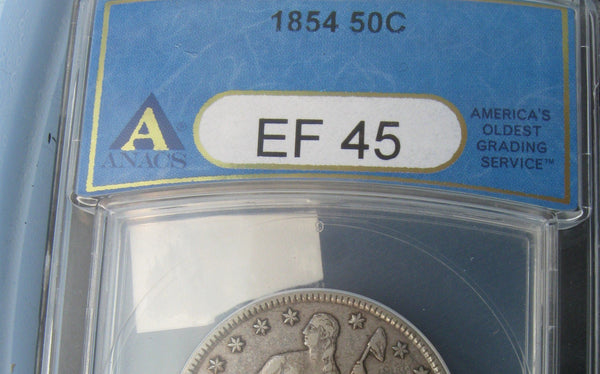 1854 Seated Liberty Half Dollar.  ANACS XF-45 - Of Coins & Crystals