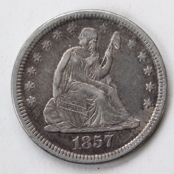 1857 Seated Liberty Quarter AU50 - Of Coins & Crystals