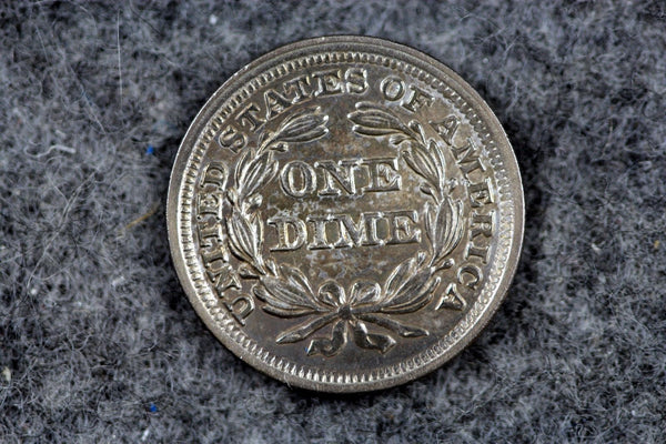 1857 Seated Liberty Dime  MS63 - Of Coins & Crystals