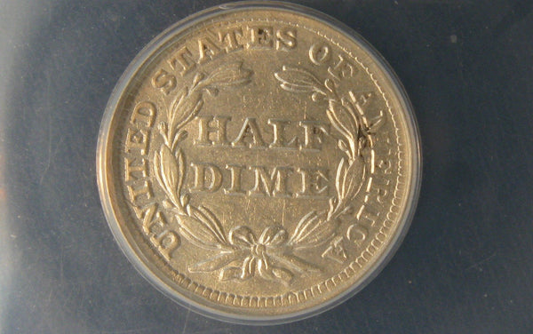 1857 Seated Liberty Half Dime.   ANACS AU-50 - Of Coins & Crystals