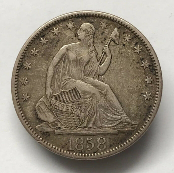 1858S Seated Liberty Half Dollar XF 45 - Of Coins & Crystals