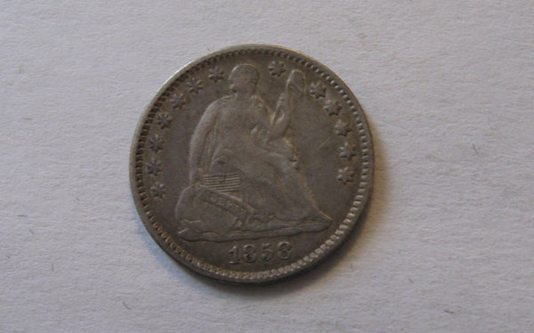 1858 Seated Liberty Half Dime.  XF-40 - Of Coins & Crystals