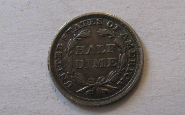 1858 Seated Liberty Half Dime.  XF-45 - Of Coins & Crystals