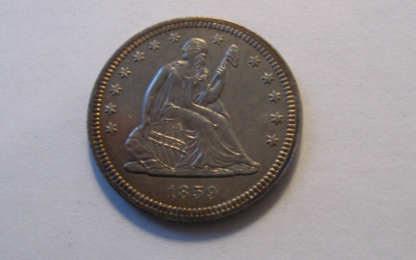 1859 Seated Liberty Quarter. Choice Uncirculated details - Of Coins & Crystals