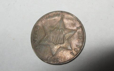 1859 Silver Three Cent - Of Coins & Crystals