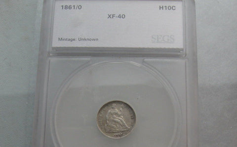 1861/0 Seated Liberty Half Dime SEGS XF-40 | Of Coins & Crystals