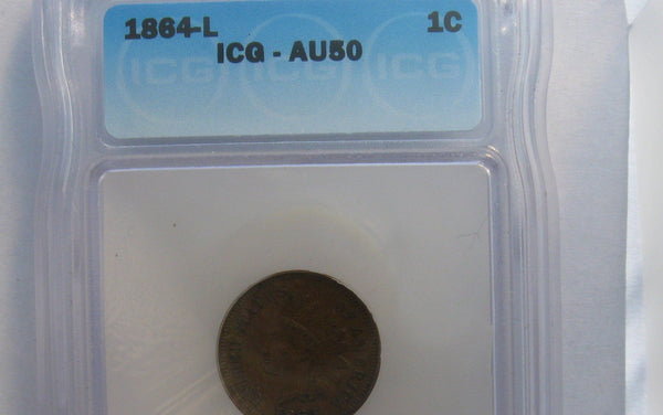 1864-L Indian Cent ICG AU-50 - Of Coins & Crystals