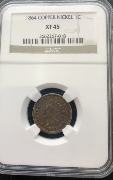 1864 Copper Nickel Cent NGC XF-45 - Of Coins & Crystals