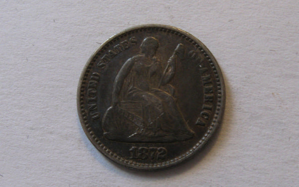 1872 Seated Liberty Half Dime. XF-45 - Of Coins & Crystals