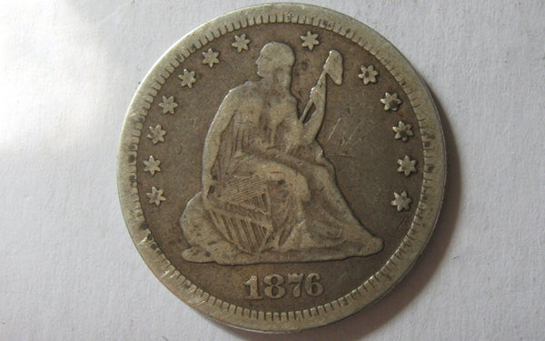 1876-CC Seated Liberty Quarter. F-12 - Of Coins & Crystals