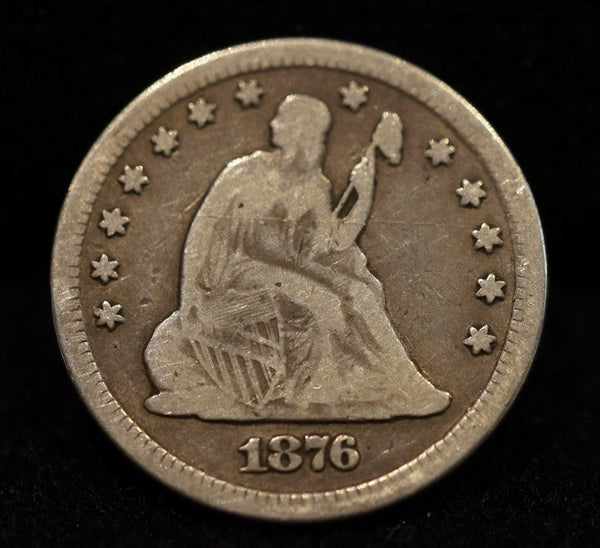 1876-CC Seated Liberty Quarter VG10 - Of Coins & Crystals