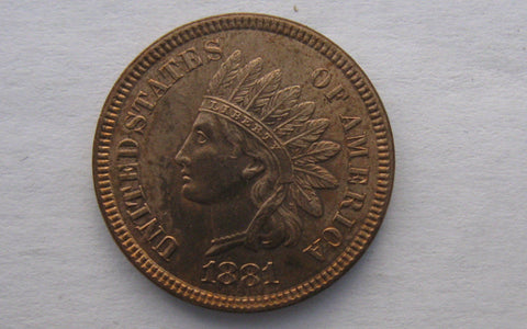 1881 Indian Cent.  MS-63RD - Of Coins & Crystals
