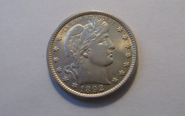 1892 Barber Quarter.  MS-65 - Of Coins & Crystals
