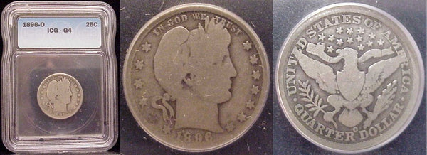 1896-O Barber Quarter ICG G4 - Of Coins & Crystals