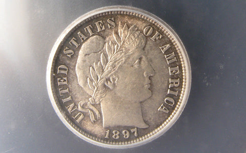 1897 Barber Dime.  ICG MS-63 - Of Coins & Crystals
