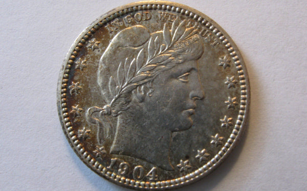 1904 Barber Quarter.  MS-60 - Of Coins & Crystals