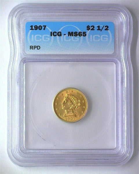 1907 Quarter Eagle ICG MS-65 - Of Coins & Crystals