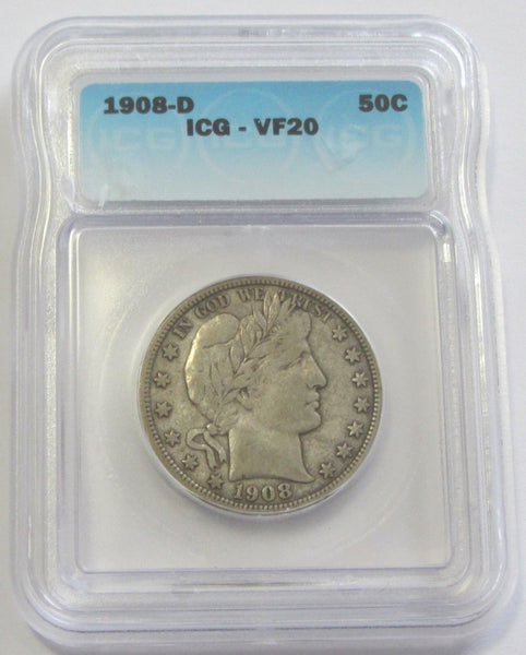 1908D Barber Half Dollar ICG VF-20 - Of Coins & Crystals