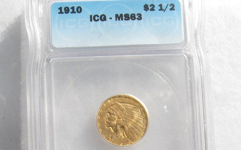 1910 Indian Head Quarter Eagle  ICG MS63 - Of Coins & Crystals