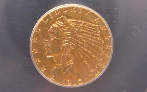 1910 Indian Head Quarter Eagle. ICG MS63 - Of Coins & Crystals