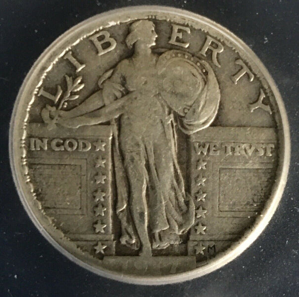 1917 Type 2 Standing Liberty Quarter ICG F-12 - Of Coins & Crystals
