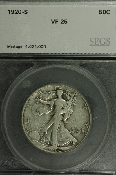 1920S Walking Liberty Half Dollar SEGS VF-25 | Of Coins & Crystals