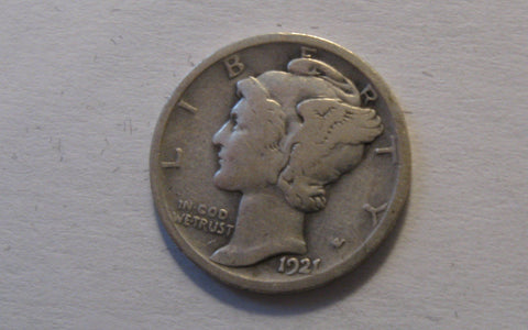 1921 Mercury Dime.  VG-08 - Of Coins & Crystals