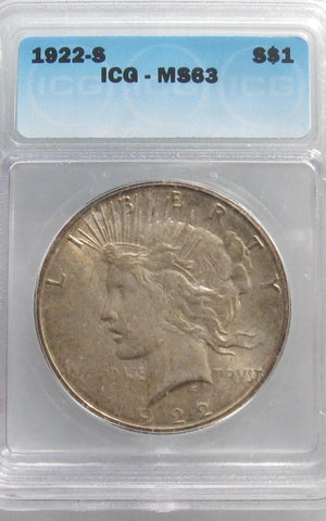 1922S  Peace Dollar ICG MS-63 | Of Coins & Crystals