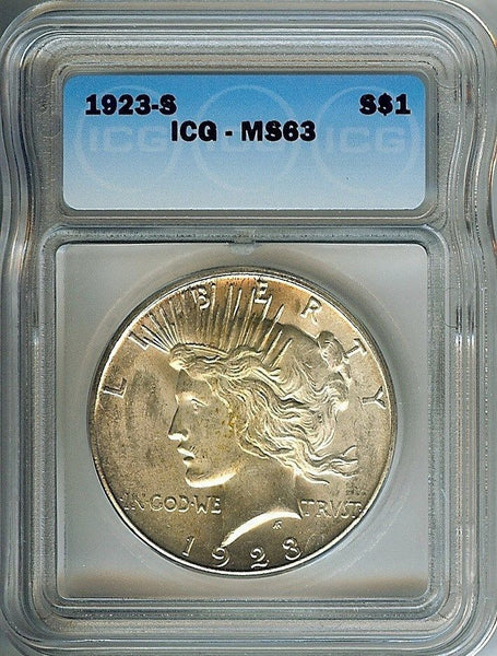 1923S Peace Dollar  ICG MS-63 - Of Coins & Crystals