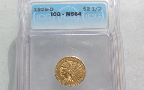 1925D Indian Head Quarter Eagle ICG MS-64 | Of Coins & Crystals