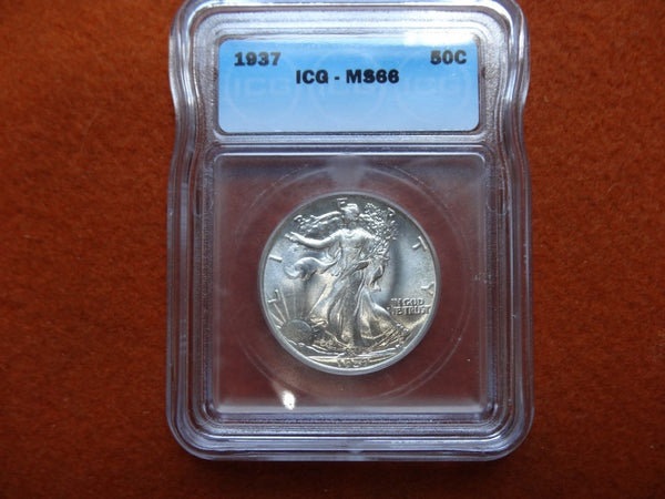 1937 Walking Liberty Half Dollar ICG MS-66 | Of Coins & Crystals