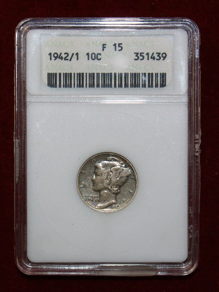 1942/1 Mercury Dime ANACS F15 - Of Coins & Crystals