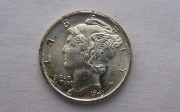 1943 Mercury Dime. MS65FB - Of Coins & Crystals