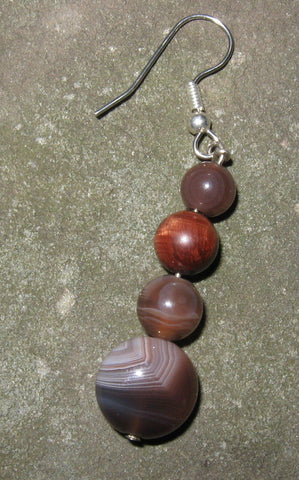 Botswana Agate & Red Tigereye Earring - Of Coins & Crystals