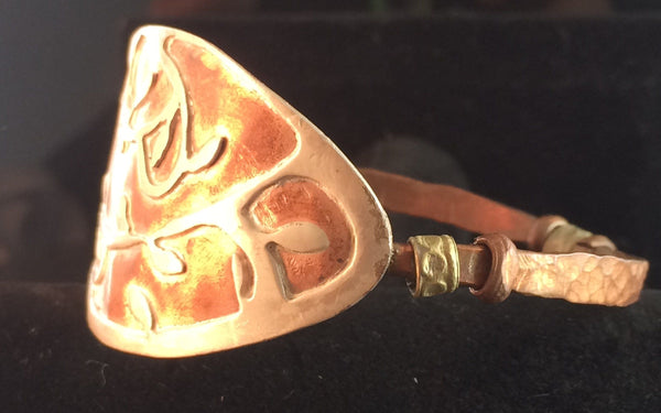 Hand Forged Copper Bangle with Sterling silver - Of Coins & Crystals