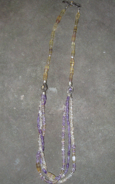 Banded Fluorite, Citrine & Amethyst Necklace - Of Coins & Crystals