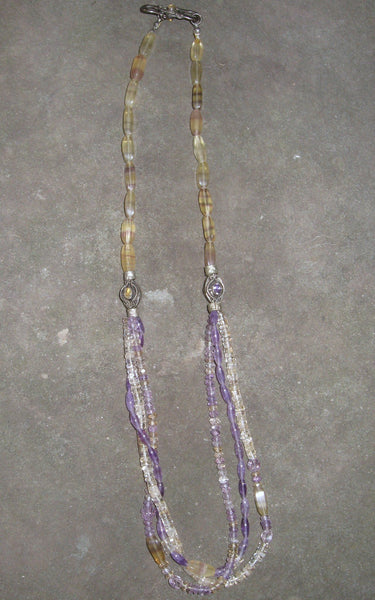 Banded Flourite, Amethyst & Citrine Earrings - Of Coins & Crystals